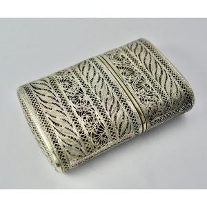 Filigree Silver Card Box, Early 20th Century