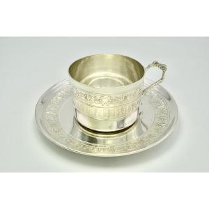 Cup And Its Silver Saucer Circa 1910 By Olier & Caron Orfèvre