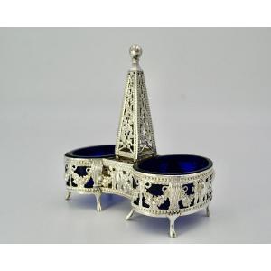 Double Silver Salt Shaker And Blue Glasses / Paris 1786