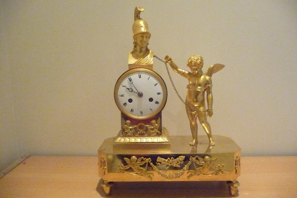 Pendule Consulat En Bronze Doré