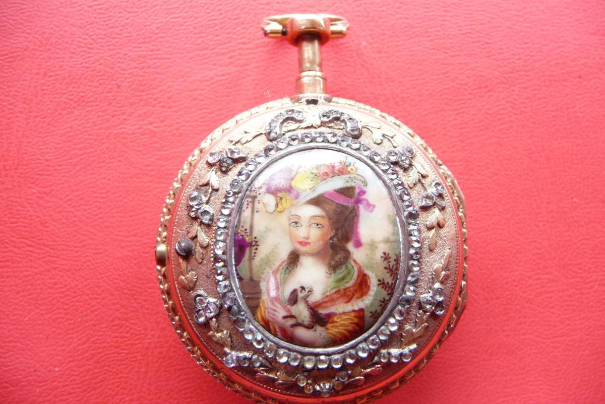 Montre Louis XVI En Or émaillée, à Sonnerie Des Quarts
