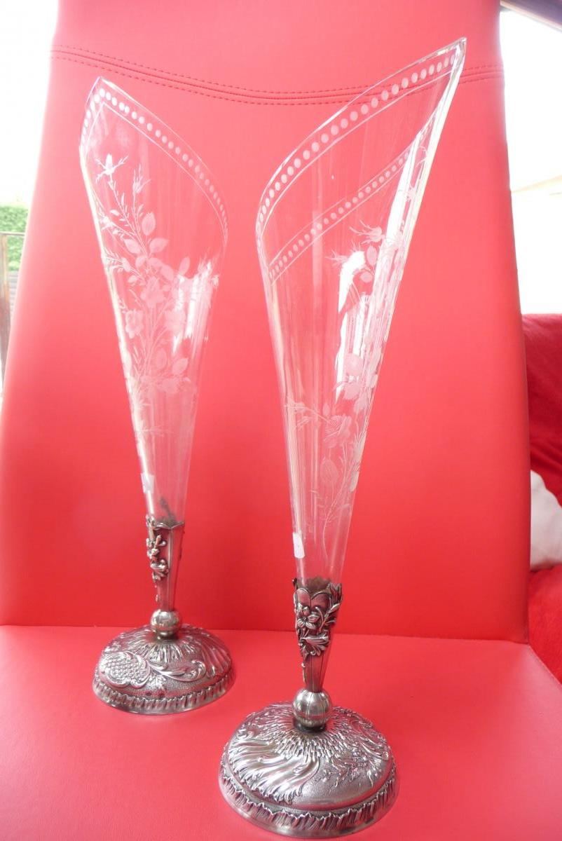 Pair Of Crystal Vases And Sterling Silver Late Nineteenth