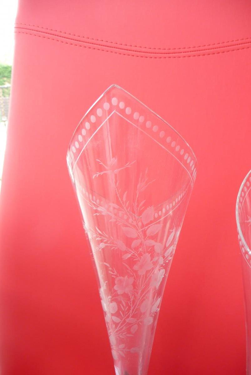 Pair Of Crystal Vases And Sterling Silver Late Nineteenth-photo-3