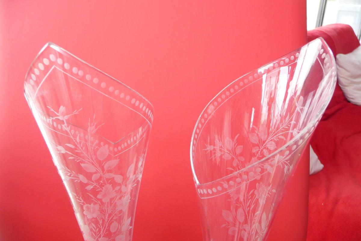 Pair Of Crystal Vases And Sterling Silver Late Nineteenth-photo-4