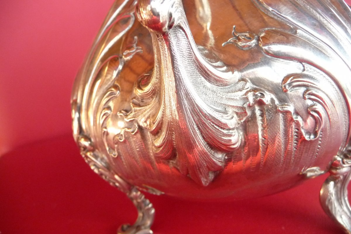 Louis XV Style Teapot In Sterling Silver. Goldsmith Veyrat. (1831 1840).-photo-2