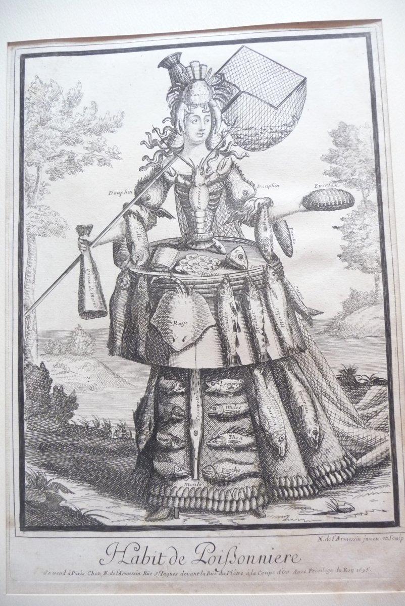 Copper Engraving By Nicolas De l'Armessin Appearing (l'habit De Poifsonnière) Dated 1695.