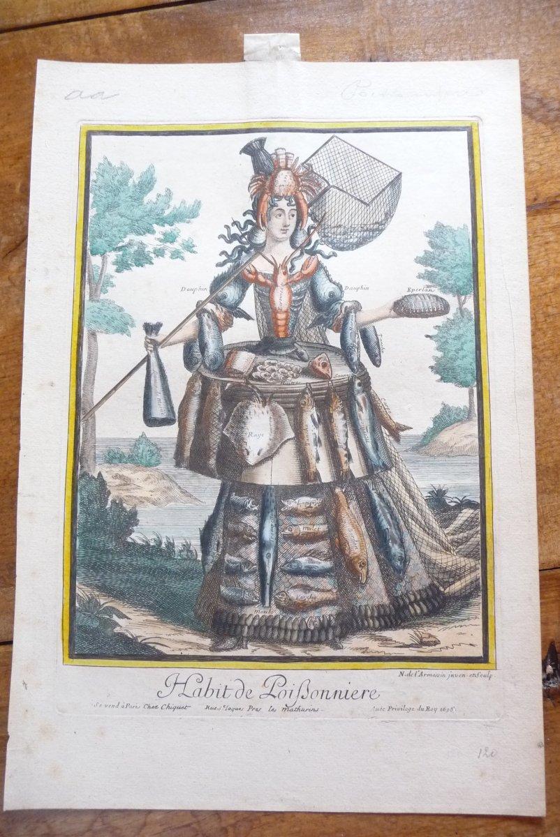 Gravure Sur Cuivre De Nicolas De l'Armessin Figurant (l'habit De Poifsonnière) Datée 1695.