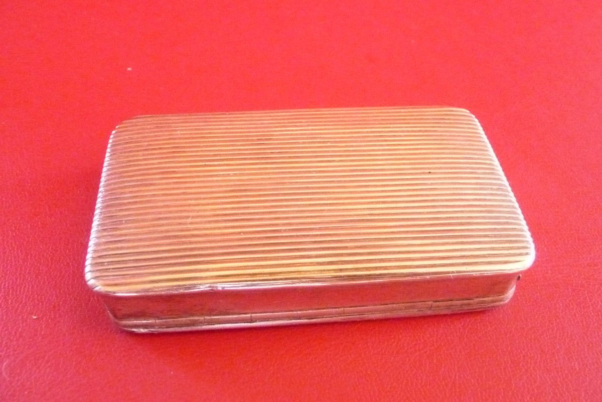 Engraved Snuffbox In Sterling Silver, Around 1840.-photo-3
