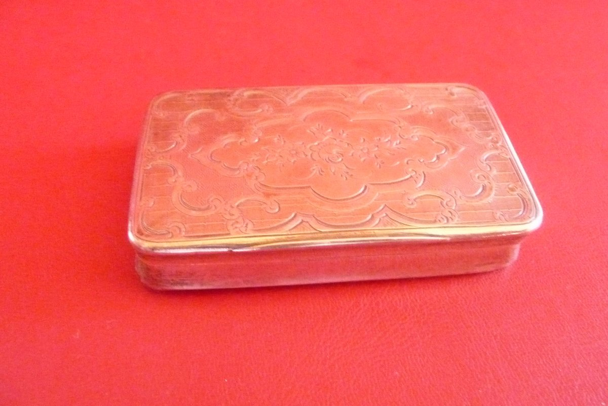 Engraved Snuffbox In Sterling Silver, Around 1840.