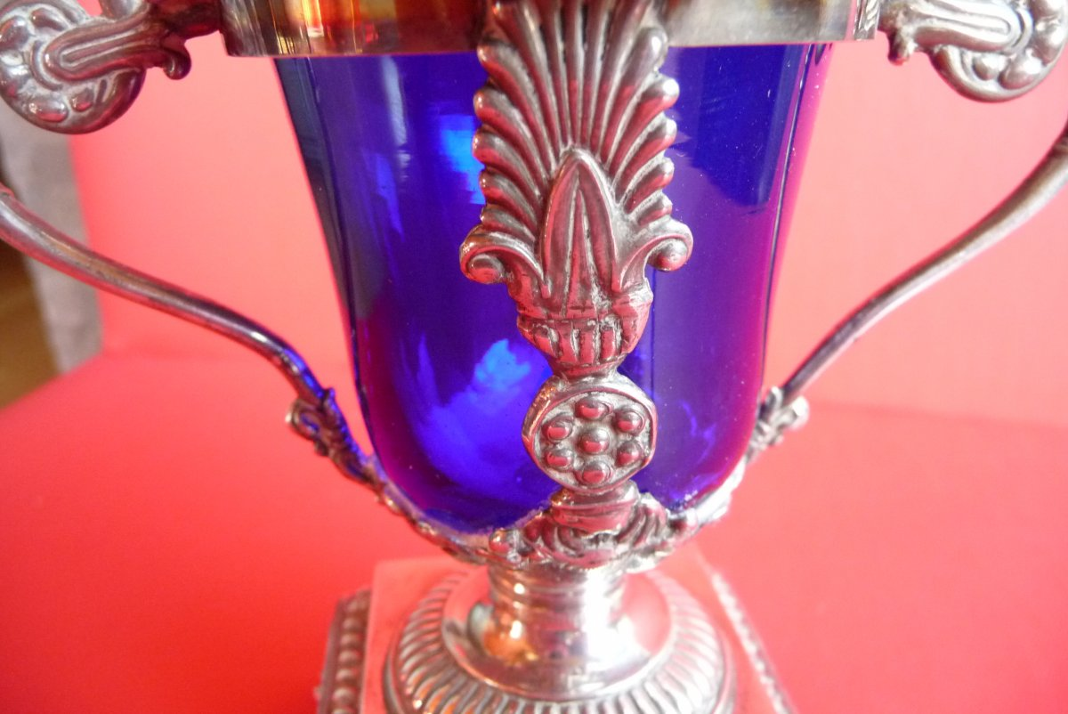 Restoration Style Mustard, In Sterling Silver. Blue Crystal Interior.-photo-2