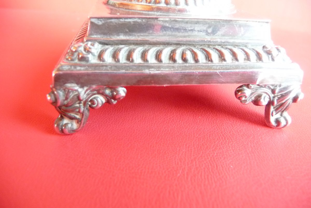 Restoration Style Mustard, In Sterling Silver. Blue Crystal Interior.-photo-3
