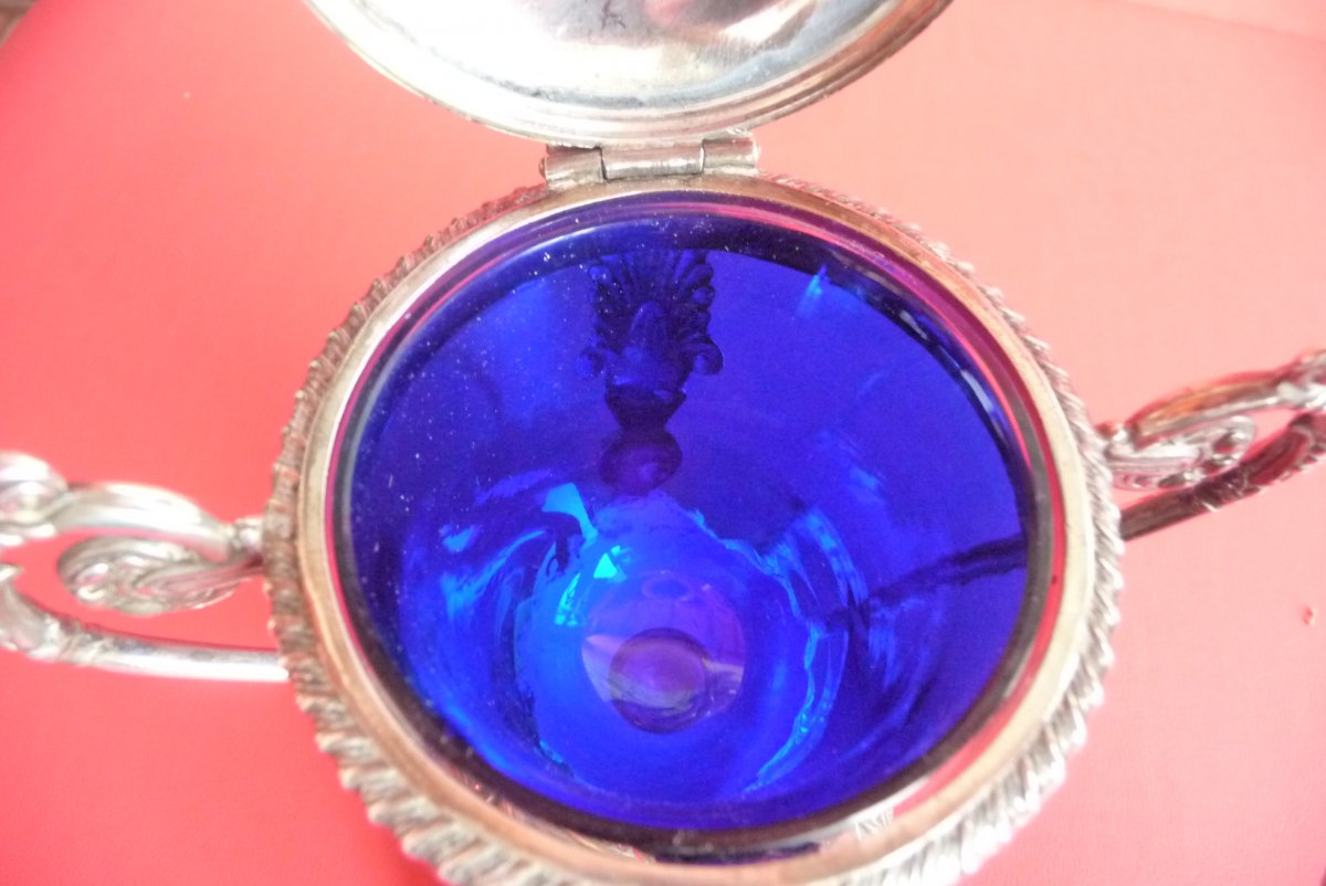 Restoration Style Mustard, In Sterling Silver. Blue Crystal Interior.-photo-5