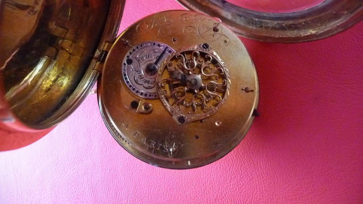 Montre XVIIIème émaillée de grand diamètre, signée Leroy, à Paris, Vers 1780.