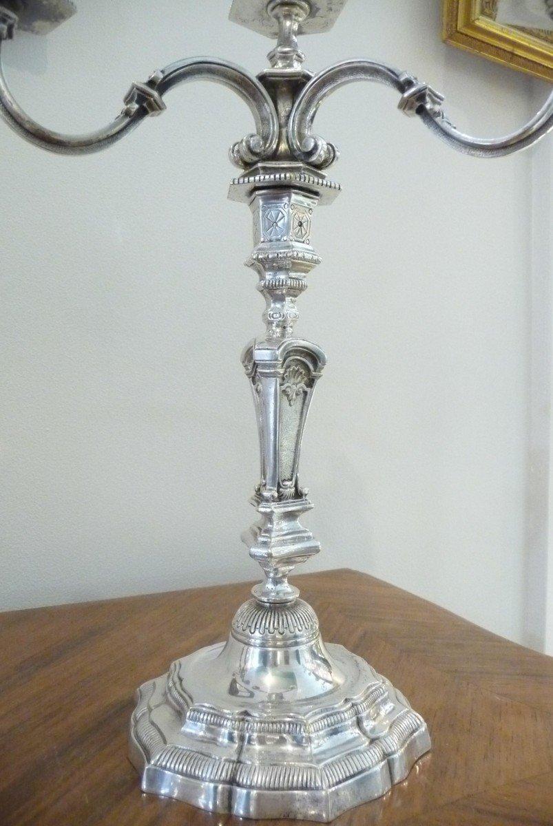 Paire De Bougeoirs Flambeaux à Quatre Branches En Bronze Argenté De Style Régence-photo-2