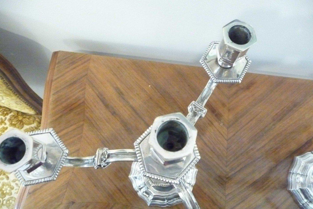 Paire De Bougeoirs Flambeaux à Quatre Branches En Bronze Argenté De Style Régence-photo-3