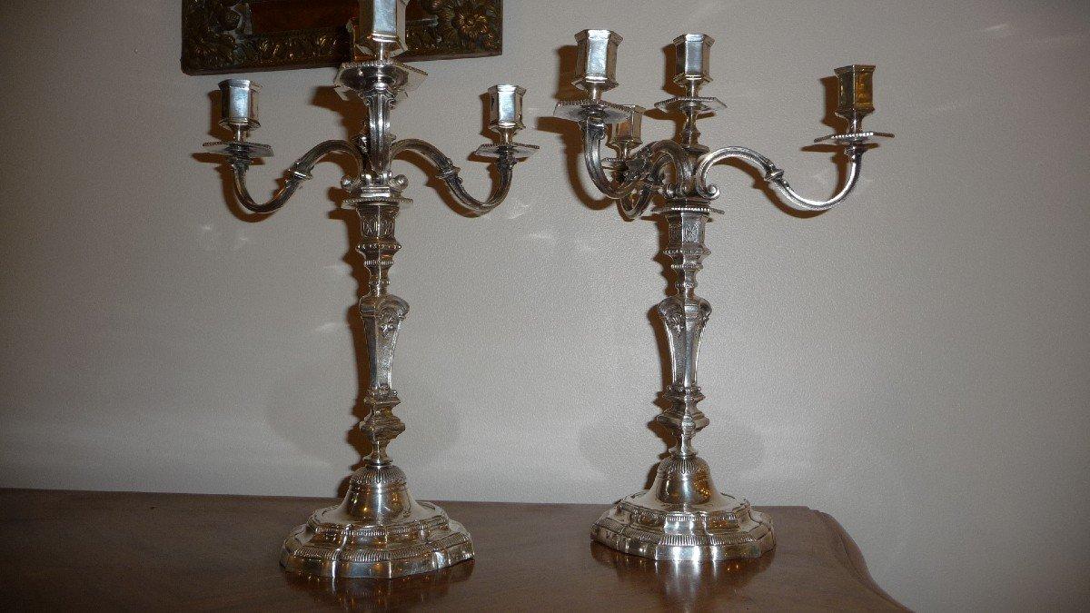 Paire De Bougeoirs Flambeaux à Quatre Branches En Bronze Argenté De Style Régence-photo-4