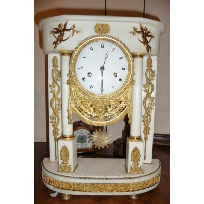 Time Clock Louis XVI Gilded Bronzes And White Marble