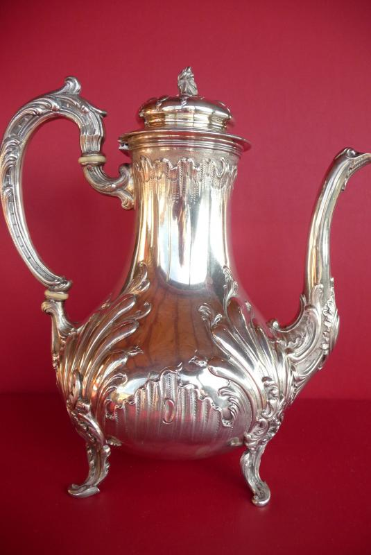 Louis XV Style Teapot In Sterling Silver. Goldsmith Veyrat. (1831 1840).-photo-3