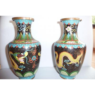 Pair Of Cloisonne Vases, China XIXth.