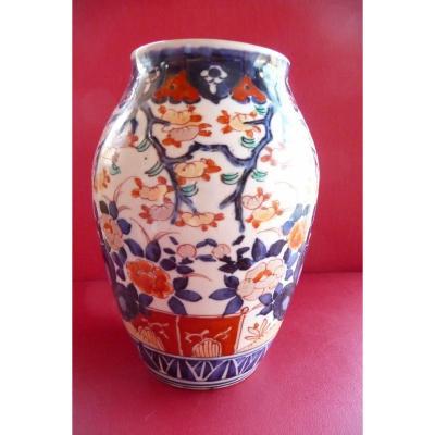 Vase En Porcelaine Imari Japon XIXème.