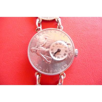 Bracelet Watch, Made With Silver Coins Of 1 And 2 Francs. From 1914 And 1916.