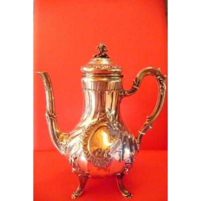 Emile Puiforcat. Twisted Teapot, Louis XV Style In Sterling Silver.