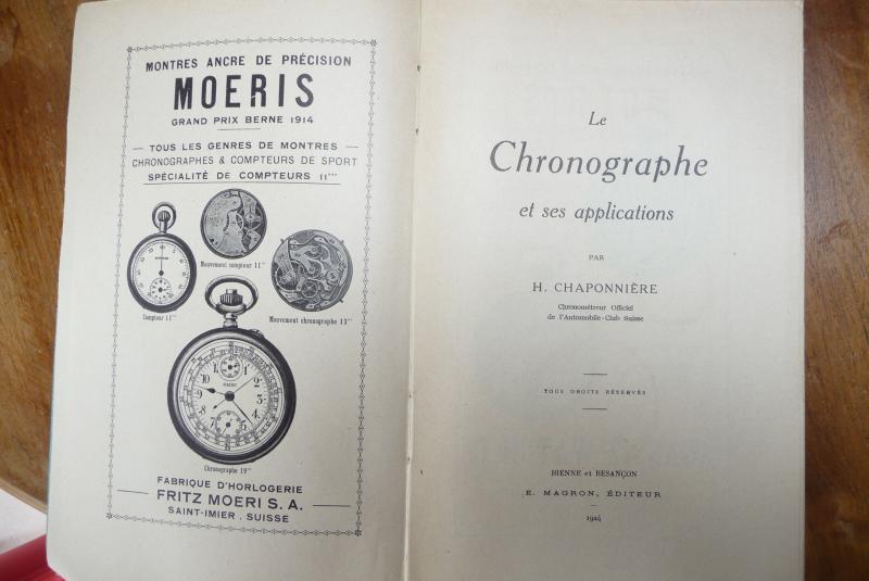 Chaponnière: Le Chronographe Et Ses Applications Bienne Et Besançon 1924-photo-2