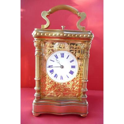 Grand Complications Gilt Bronze Officer Clock, Circa 1900.