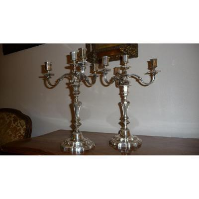 Pair Of Candelabra With 4 Branches In Silver Bronze Regency Style