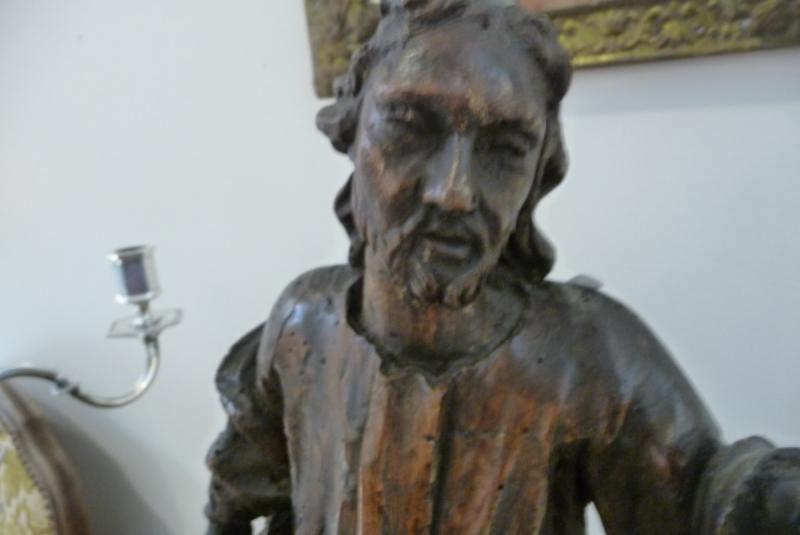 Statue XVIIIème En Bois. (personnage Avec Un Livre à La Main). Peut être Saint Jean.-photo-2