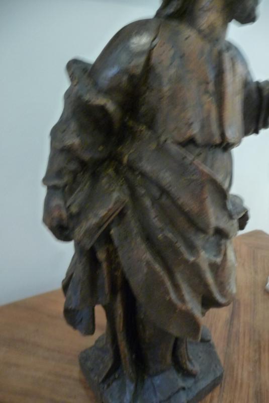 Statue XVIIIème En Bois. (personnage Avec Un Livre à La Main). Peut être Saint Jean.-photo-3