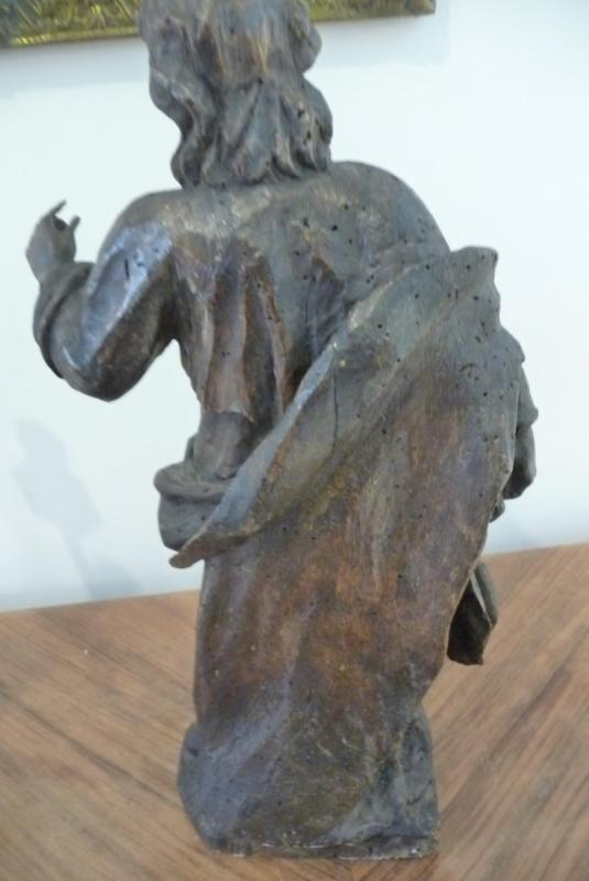 Statue XVIIIème En Bois. (personnage Avec Un Livre à La Main). Peut être Saint Jean.-photo-4