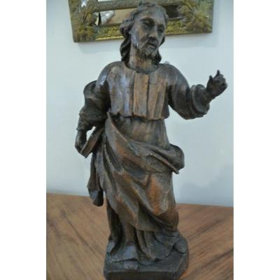 XVIIIth Wooden Statue. (character With A Book In Hand). St Jean ?