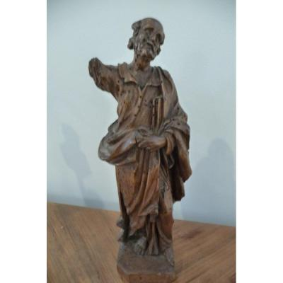 17th Century Wooden Statue (bearded Character)