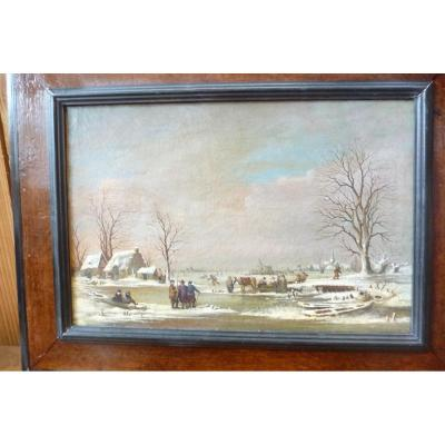 18th Century Dutch Painting, Animated Winter Landscape And Skaters