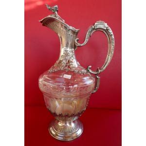Aiguière En Cristal Et Argent Massif De Henry Soufflot Grand Orfèvre Parisien, Fin Du XIXème