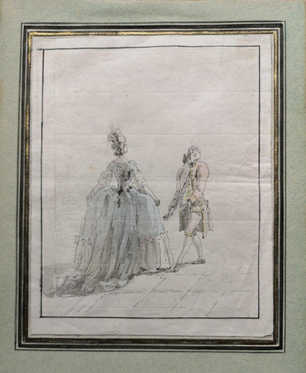 Ecole Française Du XVIIIème Siècle, Dessin, Scène De Bal