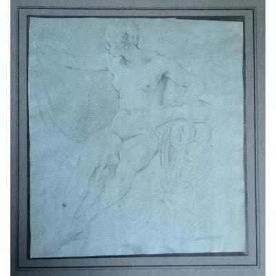Woman In Bath - French School From The Eighteenth Century - Drawing