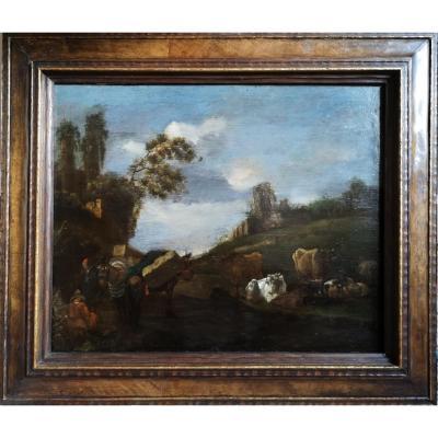 Willem Romeyn (attr. à), Troupeaux et paysans au repos dans un paysage aux ruines