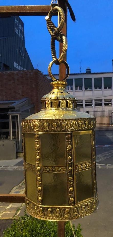 Lanterne En Laiton Repoussé époque XIXème