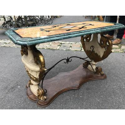 Italian Coffee Table With Marble Top