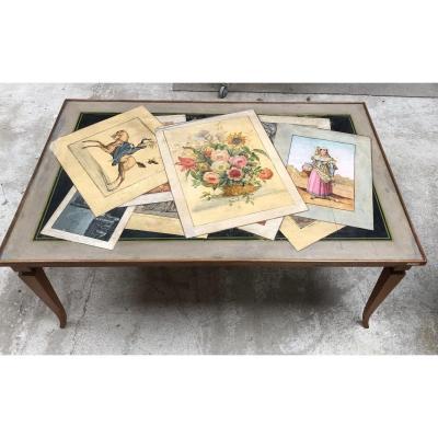 Table Basse Années 1940 Italienne Plateau Peint En Trompe  L'oeil