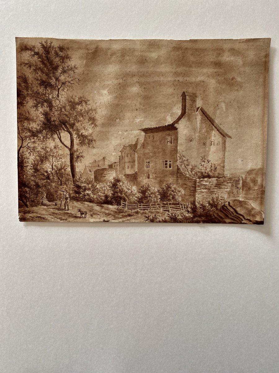Lavis Paysage Circa 1800