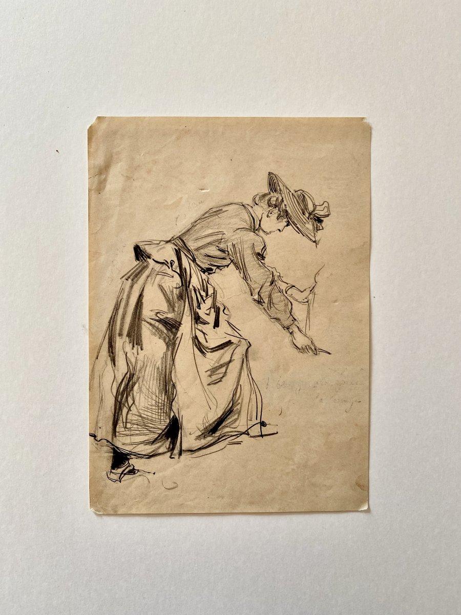 Dessin Femme Au Chapeau Circa 1900