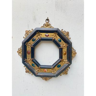 Frame In Wood And Hard Stones Italy 19th Century