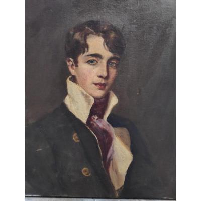 Portrait De Jeune Homme, XXème, Huile Sur Toile.