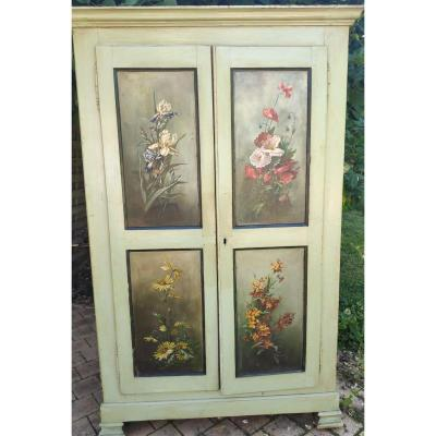 Small Wardrobe Painted With Flowers 19th Century