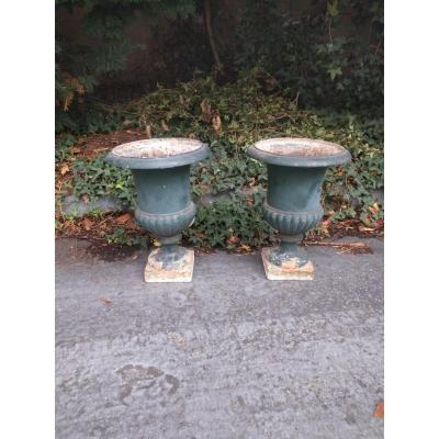 Paire De Vases Balustres En Fonte XIX ème