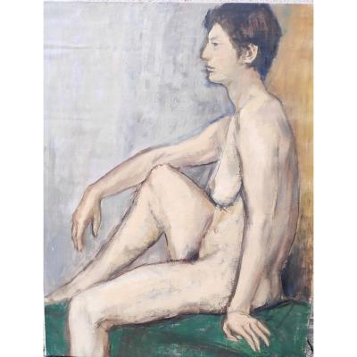 Grand Portrait De Nue,  Femme Assise, Huile Sur Toile, école XX ème Siècle.
