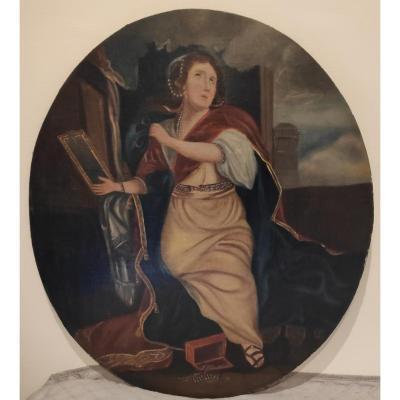 École Française Du 19eme Siècle, Femme Au Miroir, Huile Sur Toile Marouflee Sur Panneau,